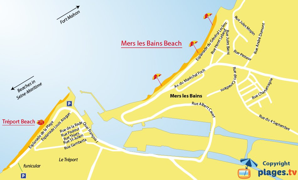 Map of Mers les Bains beaches in France