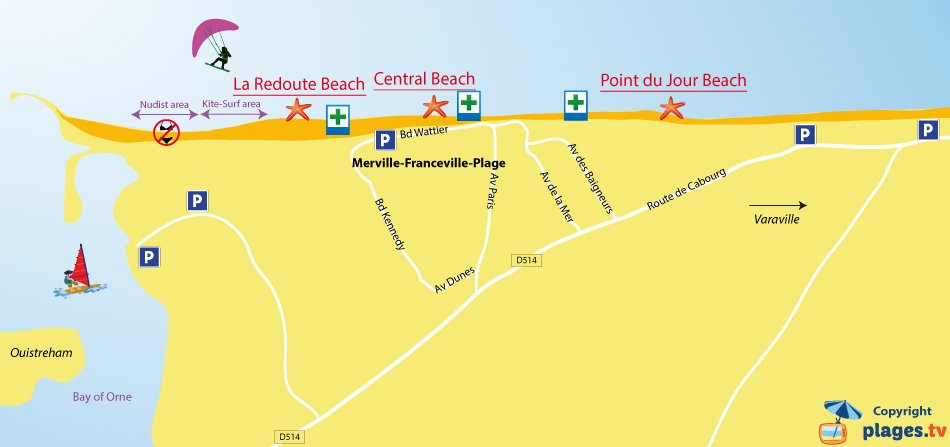 Map of Merville-Franceville beaches in Normandy - France