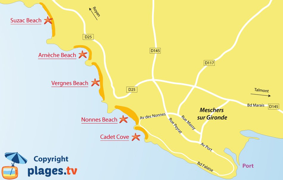 Map of Meschers sur Gironde beaches in France