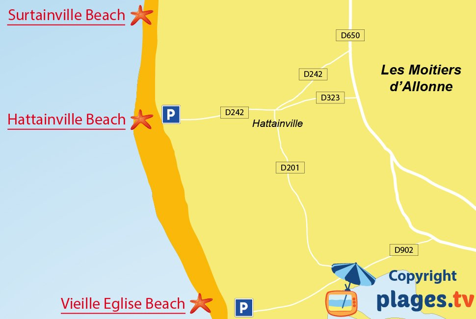 Map of Les Moitiers d'Allonne beaches in France