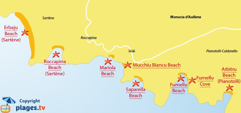 Map of Monacia-d'Aullene Beaches in France - Corsica