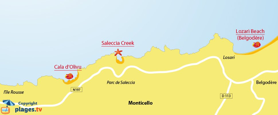 Map of Monticello beaches in Corsica