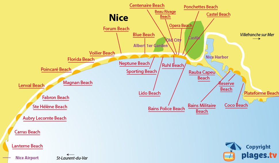 Map of the beaches in Nice - France