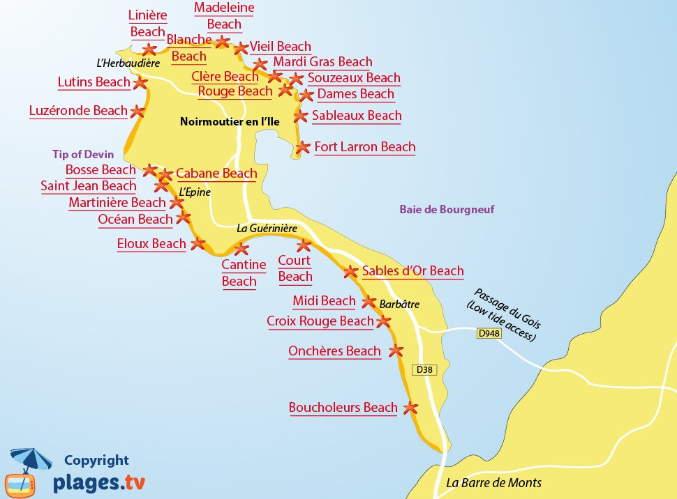 Map of the Noirmoutier beaches in France