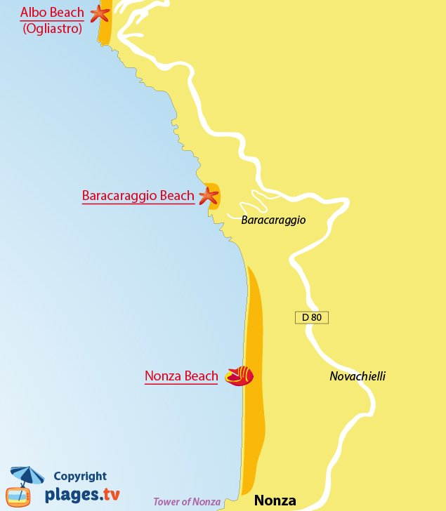 Map of Nonza beaches in Corsica