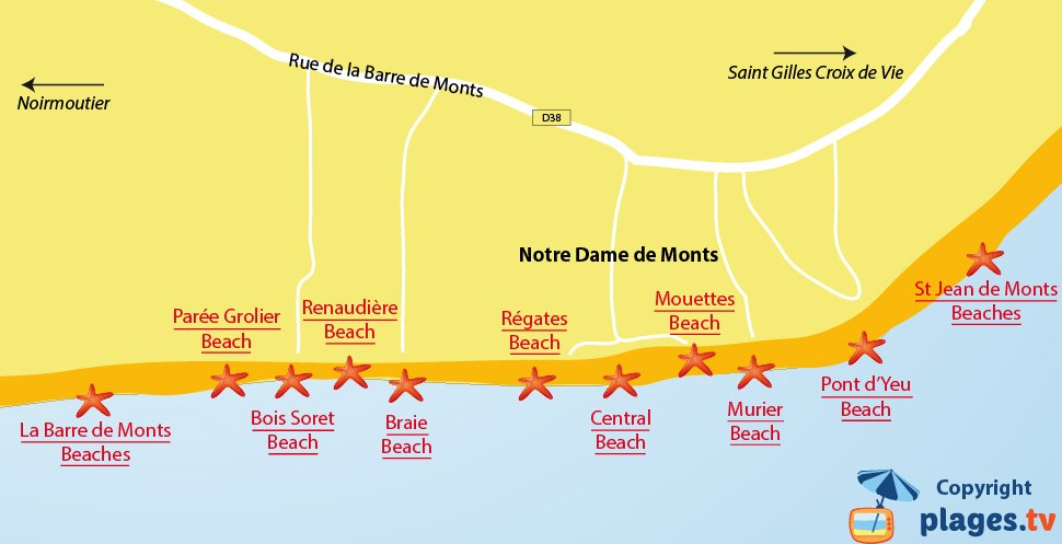 Map of Notre Dame de Monts beaches in France