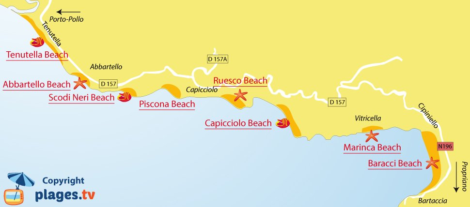 Map of Olmeto beaches in Corsica