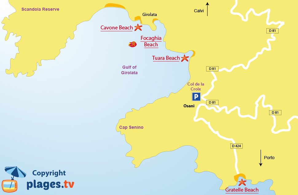 Map of Osani beaches in Corsica (Girolata)