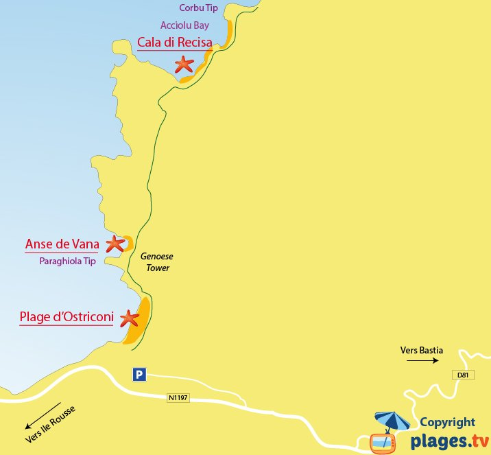 Map of Palasca beaches (Ostriconi) in Corsica