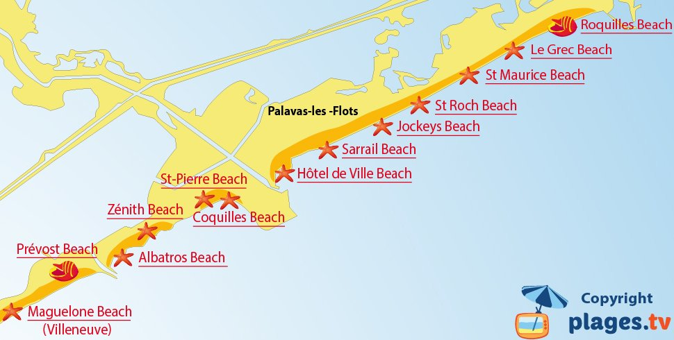 Map of Palavas-les-Flots beaches in France