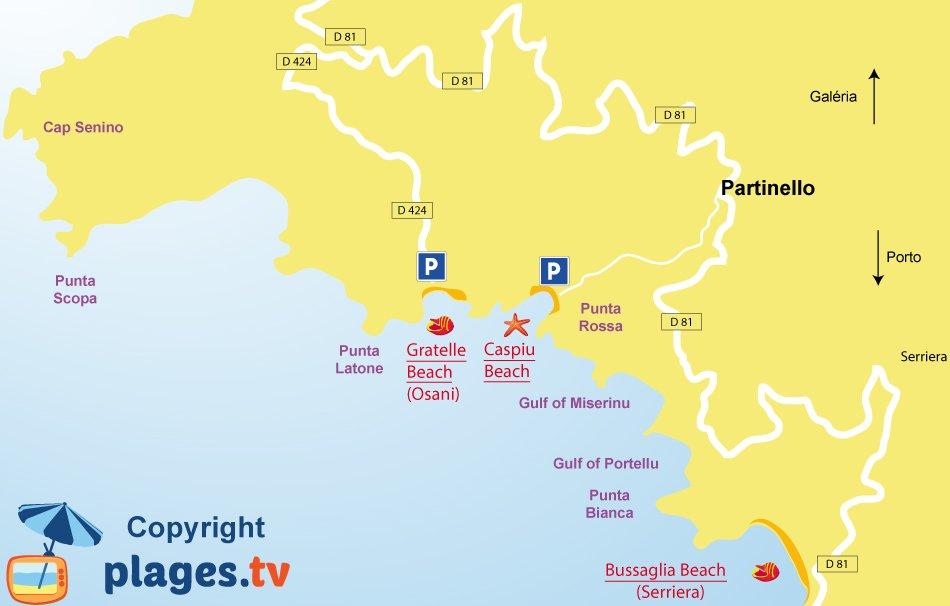 Map of Partinello beaches in Corsica - gulf of Porto
