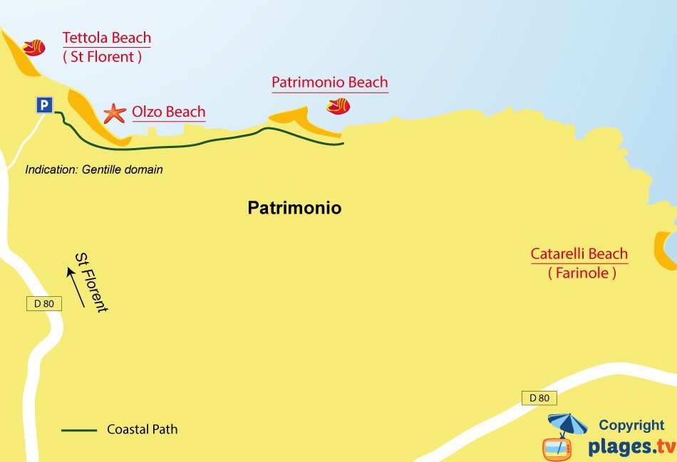 Map of Patrimonio beaches in Corsica