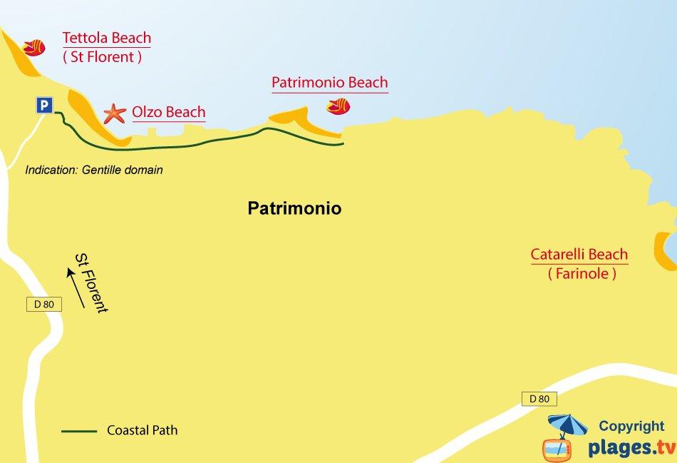 Map of Patrimonio beaches in Corsica