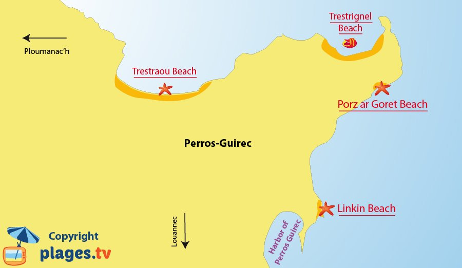 Map of the Perros-Guirec beach in France (Brittany)