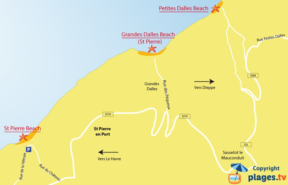 Map of Petites Dalles beaches in Normandy