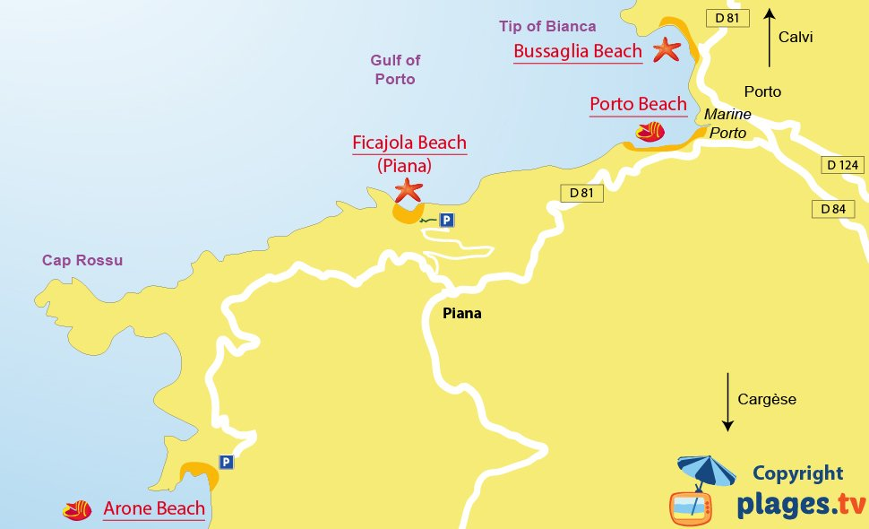 Map of Piana beaches in Corsica - France