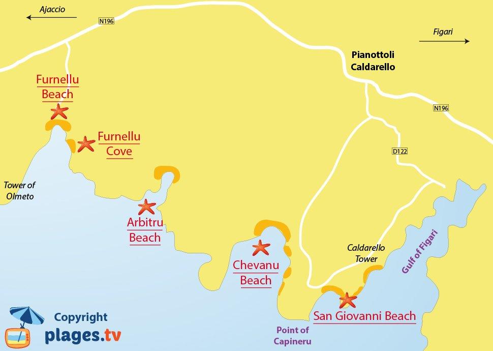 Map of Pianottoli-Caldarello beaches in Corsica
