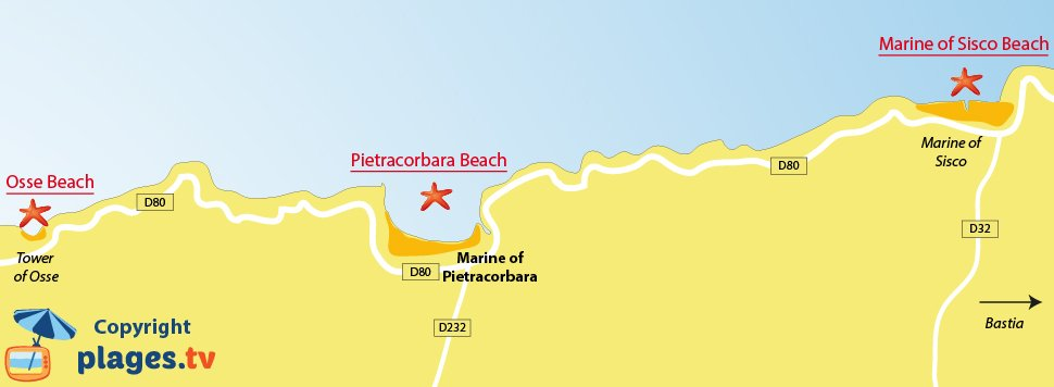 Map of Pietracorbara beaches in Corsica
