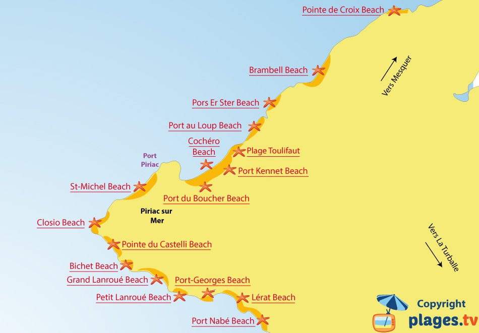 Map of Piriac sur Mer beaches in France