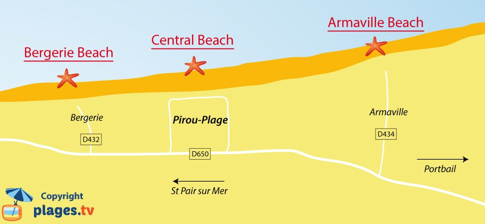 Map of Pirou beaches in France