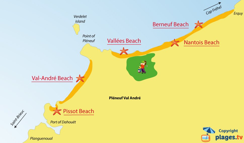 Map of Pléneuf Val André beaches in Brittany - France