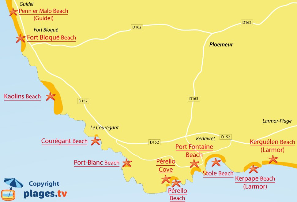 Map of Ploemeur beaches in Brittany