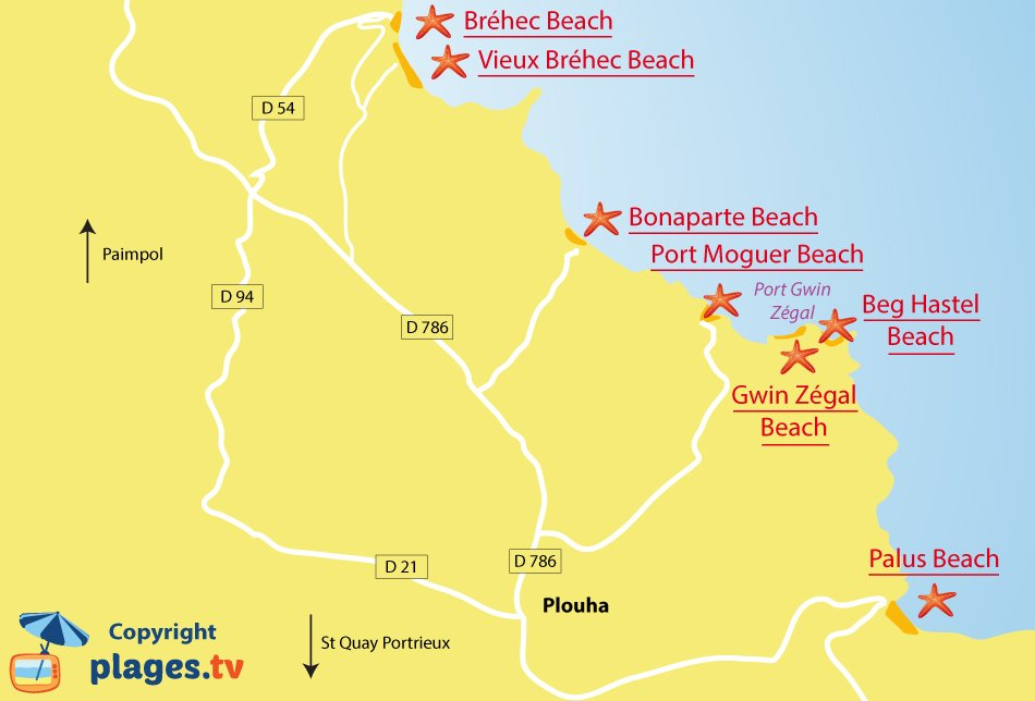Map of Plouha beaches in Brittany - France