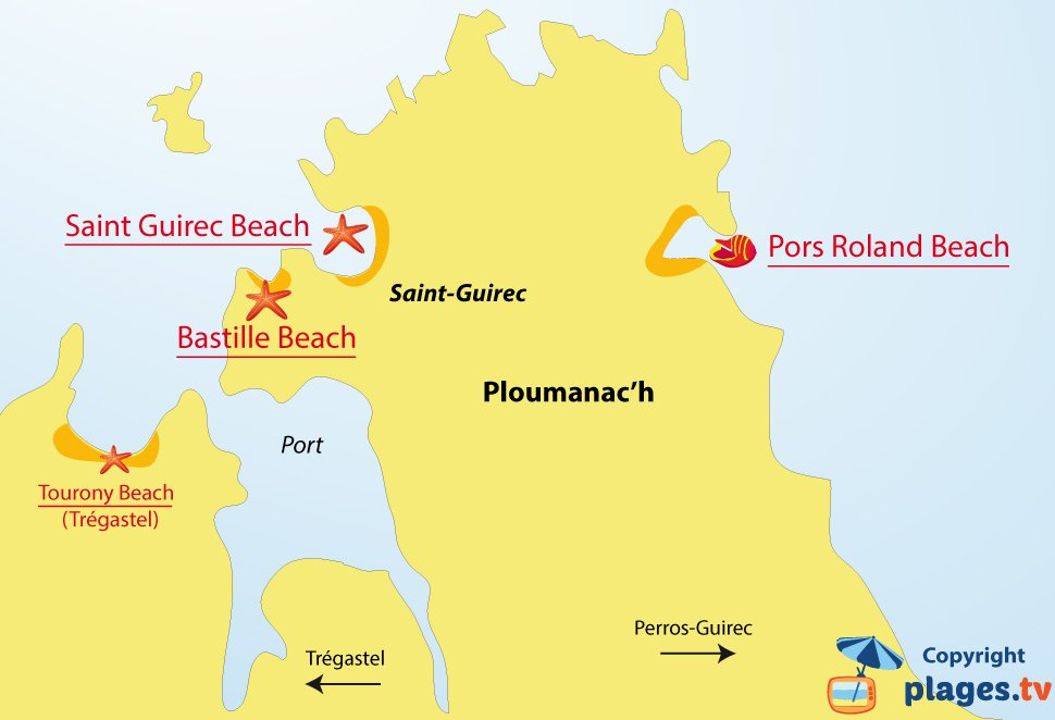 Map of Ploumanach beaches in Brittany - France