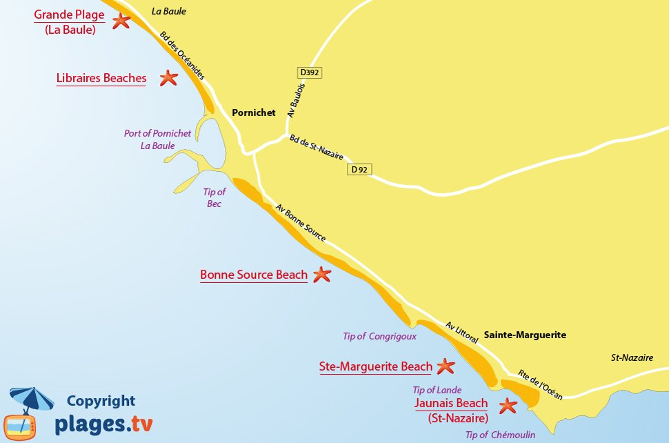 Map of Pornichet beaches in France