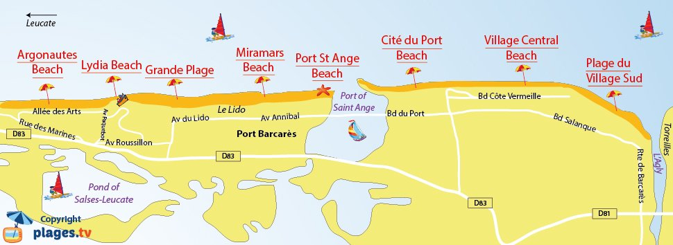 Map of Port Barcares beaches in France