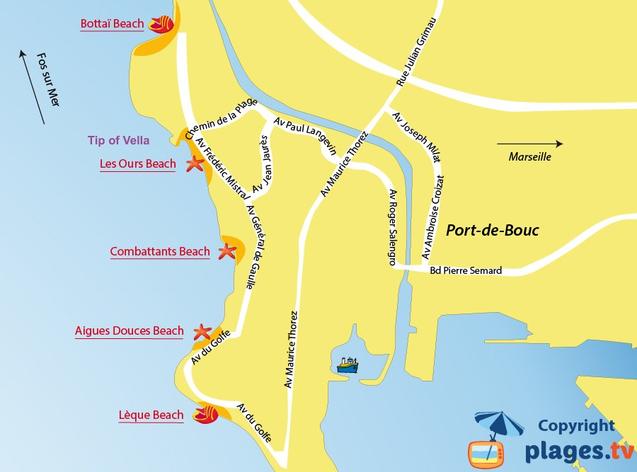 Map of Port de Bouc beaches in France
