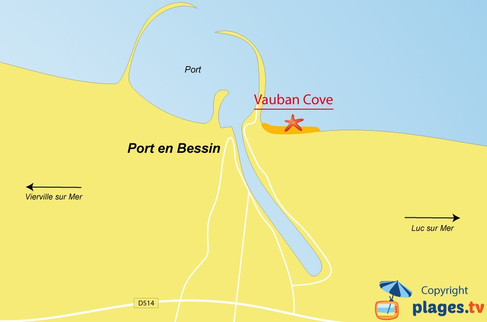 Map of Port en Bessin beaches in France - Normandy