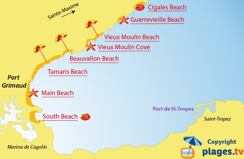 Map of Port-Grimaud beaches in France
