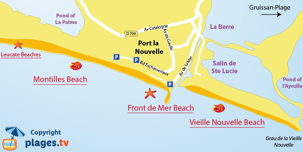 Map of Port la Nouvelle beaches in France