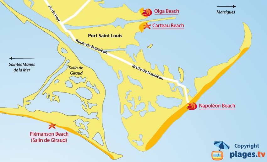 Map of the Port Saint Louis beaches in France