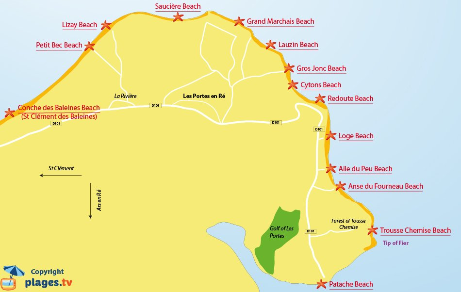 Map beaches of Les Portes en R� in France - Re Island