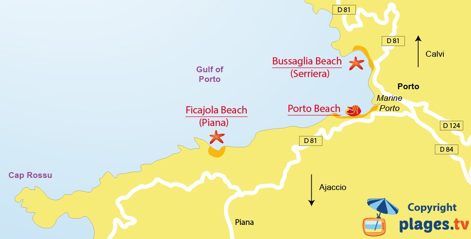 Map of Porto beach in Corsica