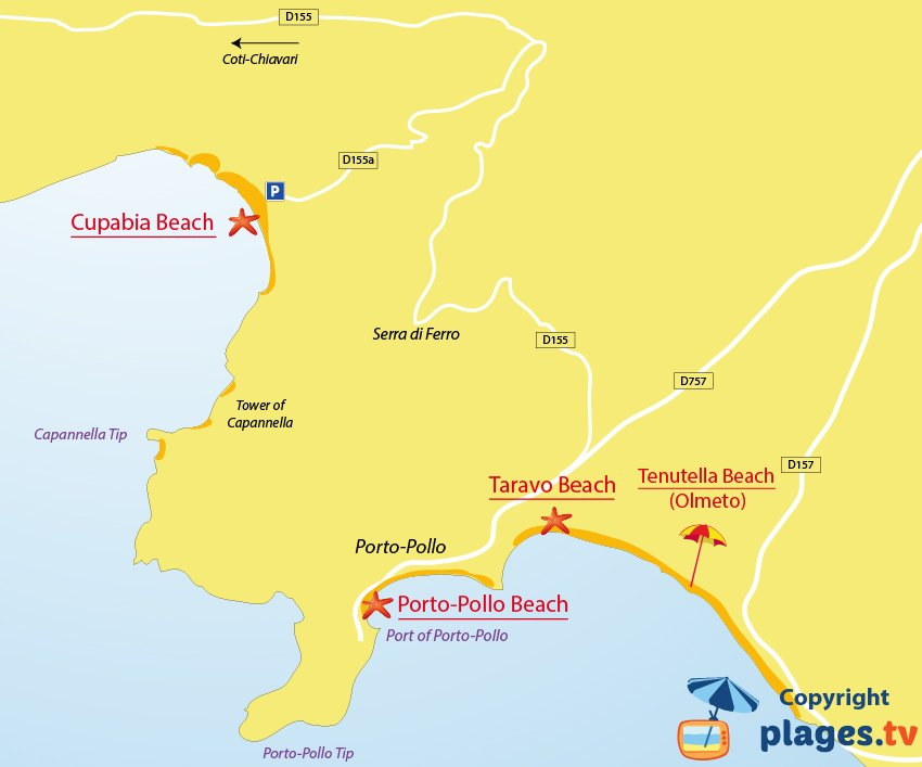 Map of Porto-Pollo beaches in Corsica