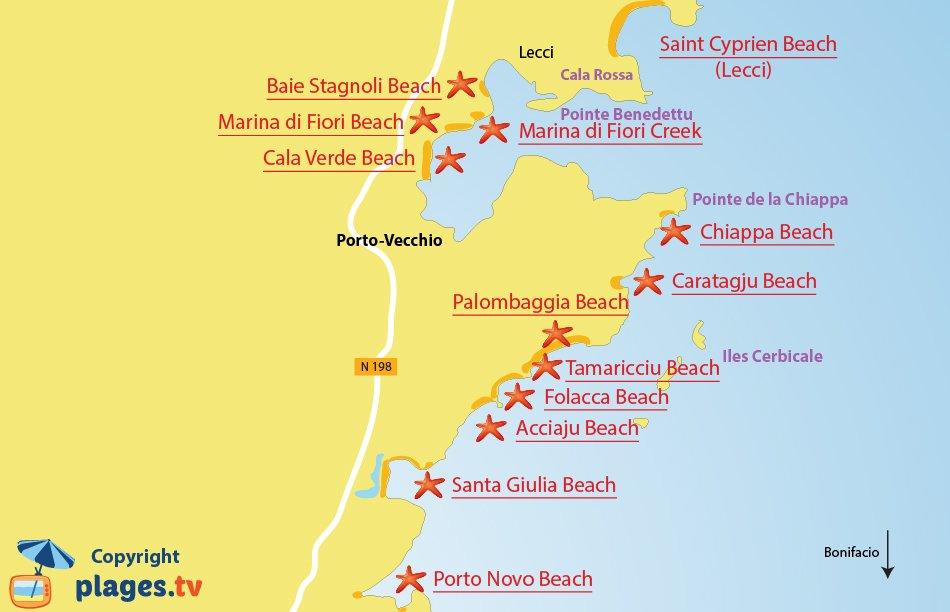 Map of Porto Vecchio beaches in Corsica