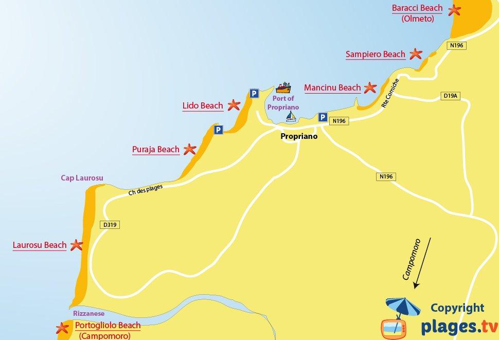 Map of Propriano beaches in Corsica