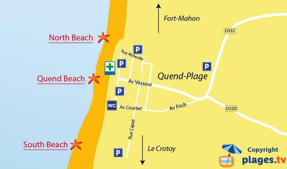 Map of Quend-Plage beaches in France