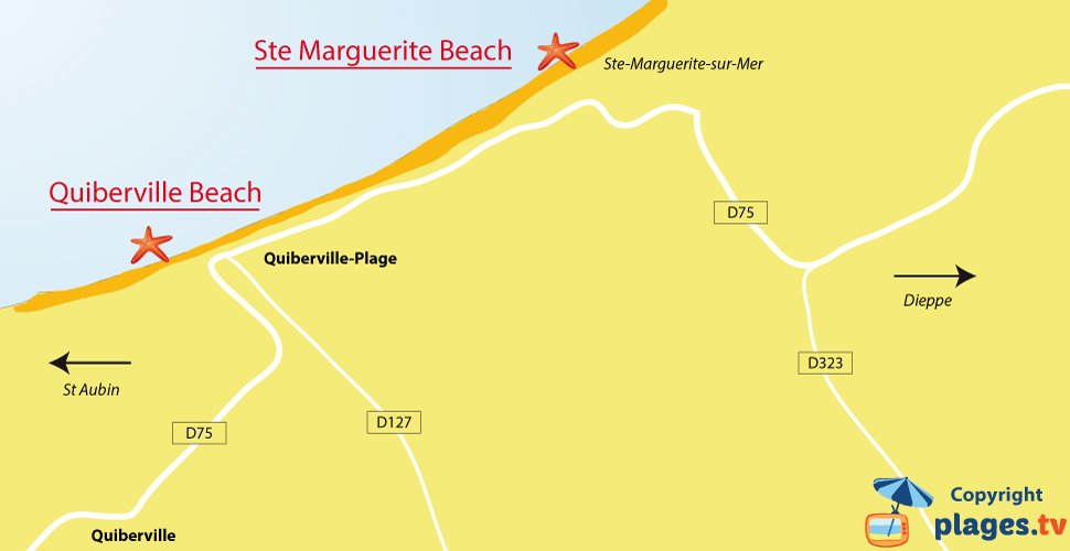 Map of Quiberville beaches in France - Normandy