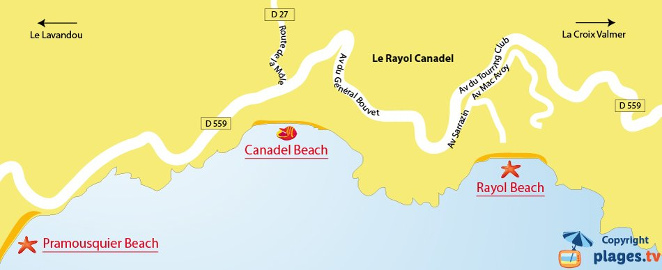 Map of Rayol-Canadel beaches in France