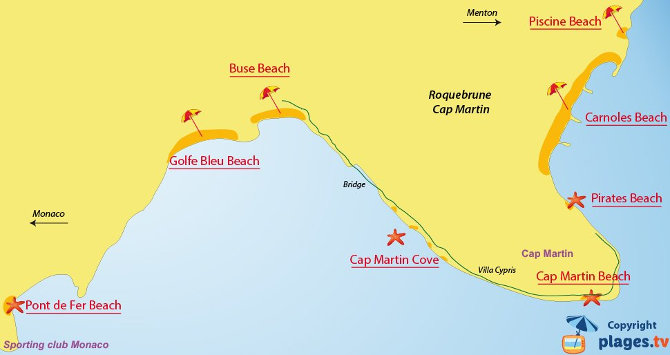Map of Roquebrune-Cap-Martin beaches in France