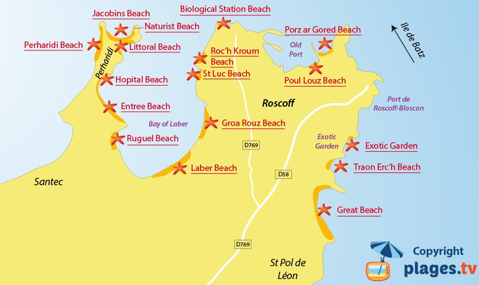 Map of Roscoff beaches in France