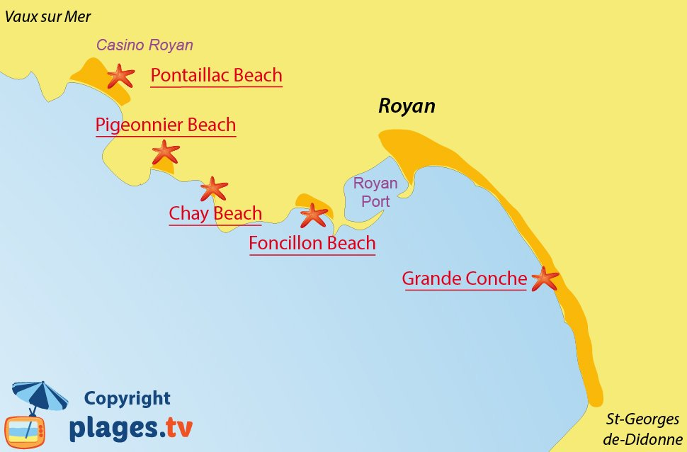 Map of Royan beaches in France