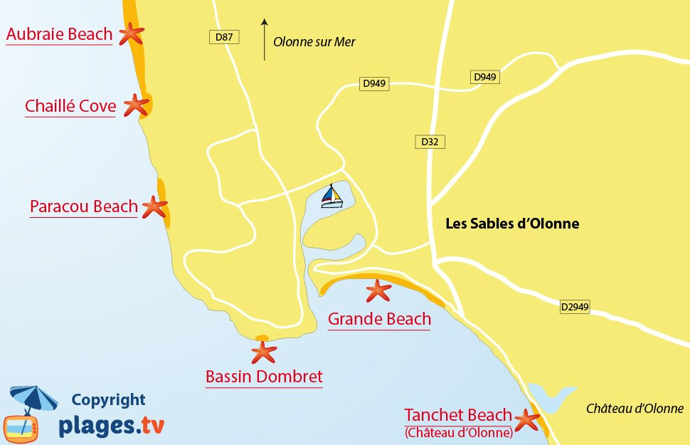 Map of the Les Sables d'Olonne beaches in France