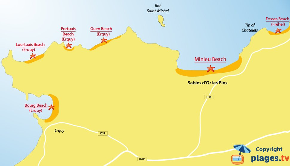 Map of Sables d'Or les Pins beach in France