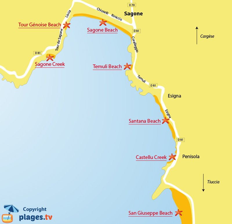 Map of Sagone beaches in Corsica