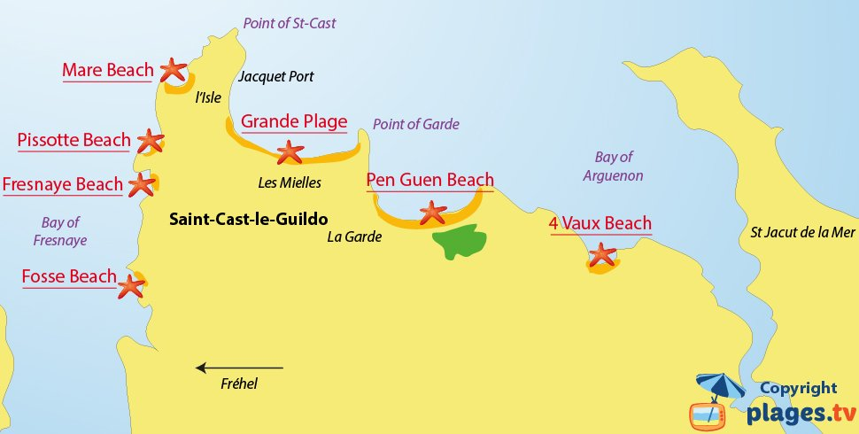 Map of Saint Cast le Guildo beaches in Brittany - France